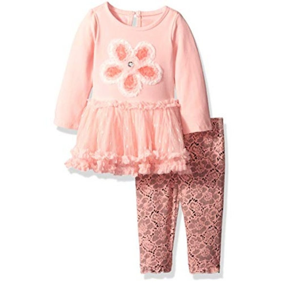 015be23e Baby Girl Coral Flower Tutu Dress Legging Set NB NWT